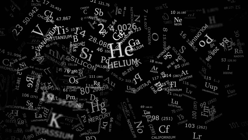 Periodic table reconstruction from chaos with light and shadow on pure black background | Shutterstock HD Video #3775646