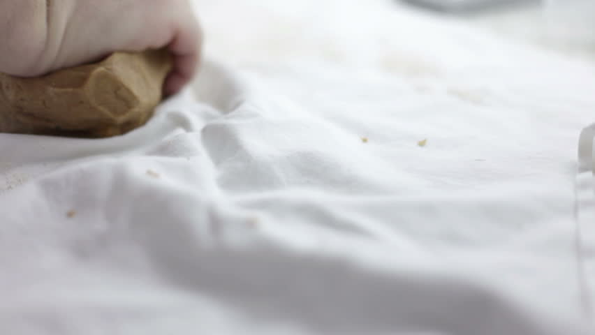 Close up shot of man hands that are making dough for cookies | Shutterstock HD Video #3777296
