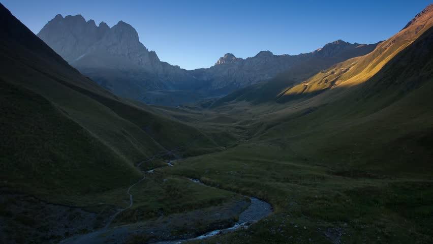 Time lapse clip. Juta village - foot of Mt Chaukhebi. Georgia, Europe. Caucasus