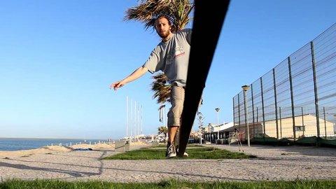Man walking on a slackline