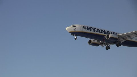 EINDHOVEN, THE NETHERLANDS - JAN 20: Ryanair airplane on final approach at Eindhoven Airport on January 20, 2012