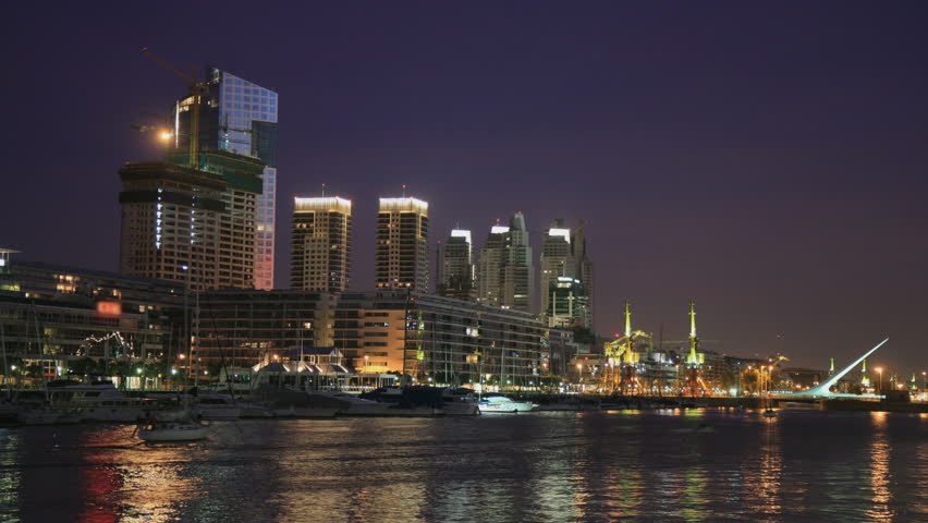 Sunset at Puerto Madero harbour, Buenos Aires, with office and residential buildings in the background. Photo time-lapse (Canon EOS 40D).
