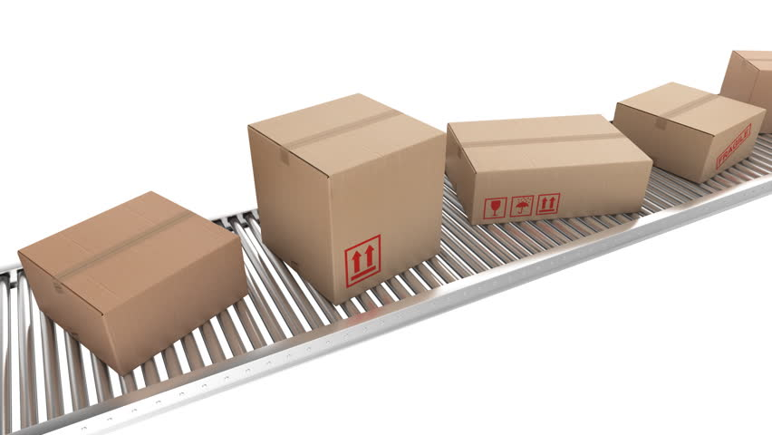 Animation of cardboard boxes on a conveyor belt, loopable.