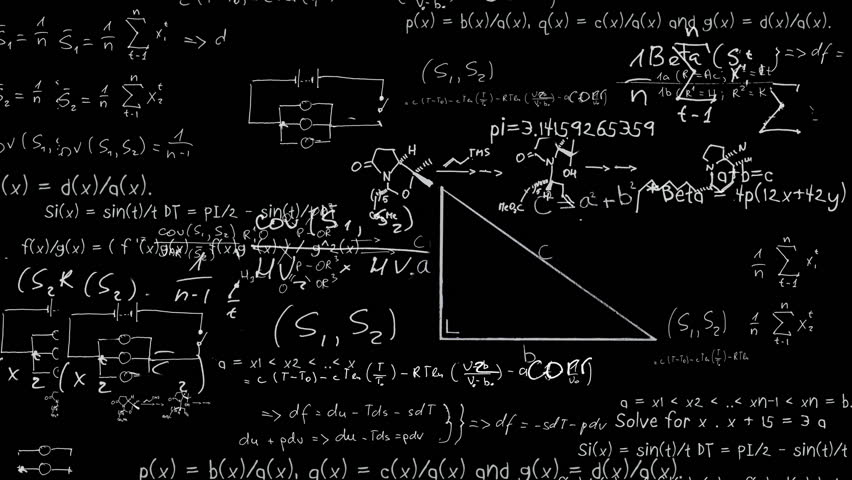 Maths equations appearing in chalk on board animation | Shutterstock HD Video #3808376