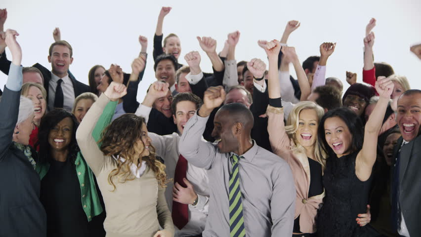 Portrait of a large group of happy and diverse business people who are standing together, isolated on white. They jump in the air and cheer to celebrate their business success. In slow motion. #3823526