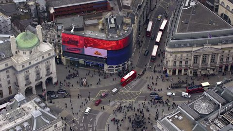 LONDON - MARCH 28: Aerial view of Piccadilly Circus, March 28, 2013 in London, England.