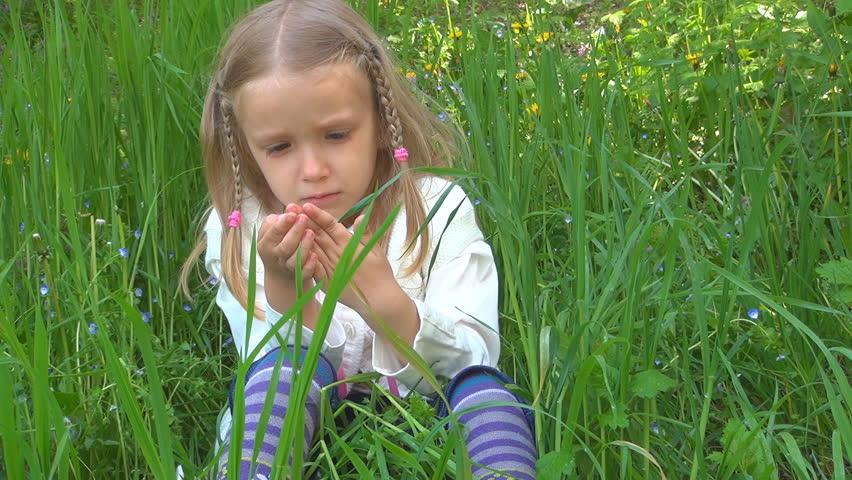 Little Girl Blowing Dandelion, Slow Motion, High Speed ...