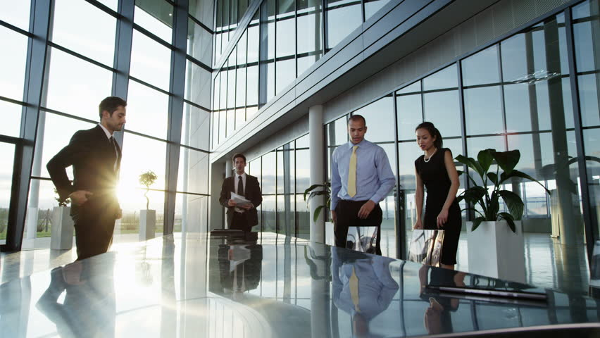 A confident and attractive business team of mixed ages and ethnicity are holding a meeting in a light, modern office building. They are discussing ideas for their business development.  | Shutterstock HD Video #3871655