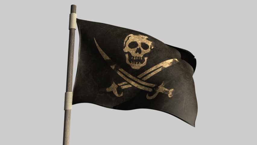 A regular jolly roger pirate flag with a skull and cutlasses on a black background attached to a wooden pole on a blue sky background