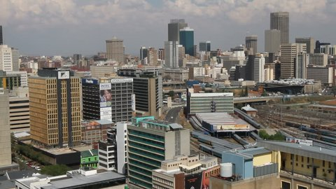 JOHANNESBURG - CIRCA 2012 - Panorama of the city's Central Business District, or CBD, which is the most dense collection of skyscrapers in Africa