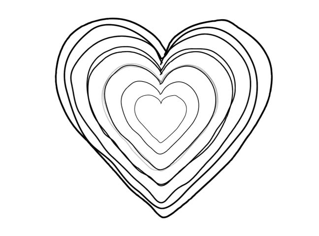 Line Art Heart Shape : Black heart shape echoed line art sequence on white stock