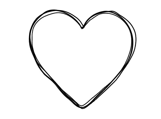 Line Drawing Heart Shape : Black heart shape line art sequence on white stock footage