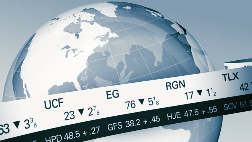 World Globe with Stock Ticker LOOP Close Up in Blue | Shutterstock HD Video #3896456