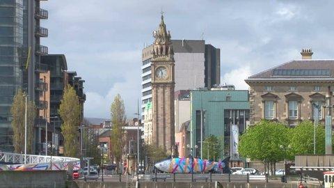 BELFAST, UK - APRIL 2012 - The city of Belfast with the landmark leaning Albert Memorial Clock Tower.