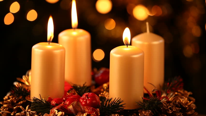 looping three red christmas candles flicker alongside. Black Bedroom Furniture Sets. Home Design Ideas