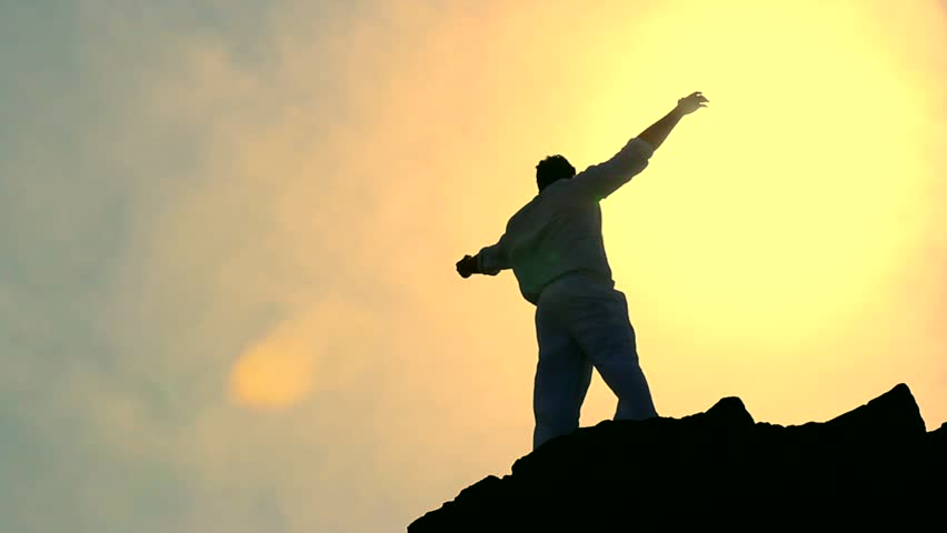 Man's Silhouette Stretching Arms toward Heaven Colorful Religious Background HD