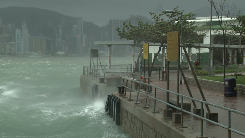 Stormy Seas Lash Waterfront During Tropical Storm - Full HD 1920x1080 30p shot on Sony EX1.