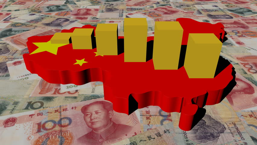 China map flag with graph on yuan animation