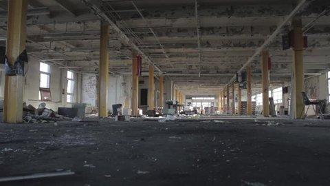 Abandoned Warehouse interior (Tracking shot)