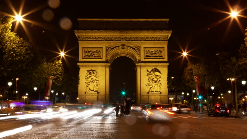 Arch of Triumph at night, Paris, France, Traffic time lapse, one of the monuments of Paris, with Eiffel tower, Louvre, Montmartre, Montparnasse, Moulin Rouge, Versailles, Pompidou Center, Notre Dame. | Shutterstock HD Video #3954056
