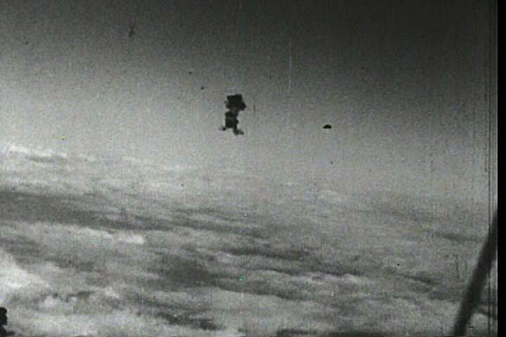 1940s - Air Force bombers fly bombing runs over Nazi Germany during World War Two (bad audio).