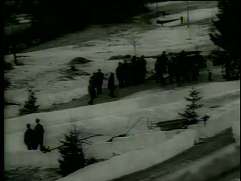Canadian four-man bobsled team wins a Gold medal  at IX Olympic Winter Games in Innsbruck, Austria circa 1964-MGM PICTURES, UNIVERSAL-INTERNATIONAL NEWSREEL, USA, filmed in 1964