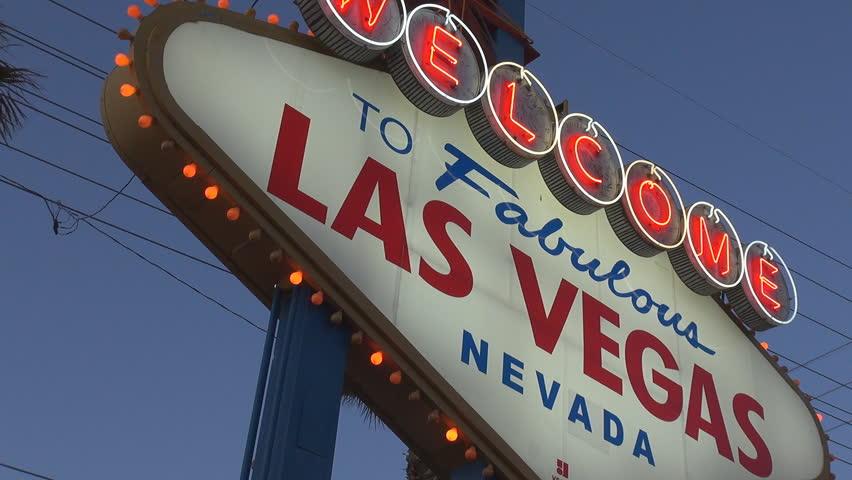 LAS VEGAS - USA,  MARCH 28, 2013, Welcome sign in Las Vegas in twilight   Shutterstock HD Video #4022566