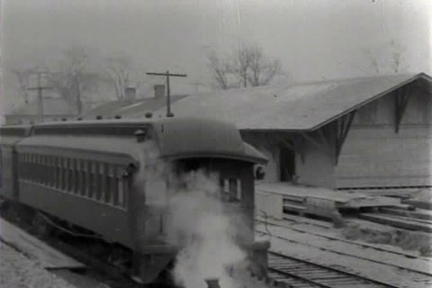 1910s, 1920s - Shots of a steam train in the early 20th century.