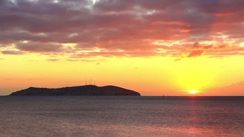 Scenic view of Kinali island (KINALIADA) during sunrise. Time Lapse