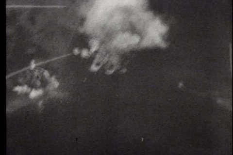 1940s - A film about World War II - footage of planes flying and bombing the German warship, Tirpitz