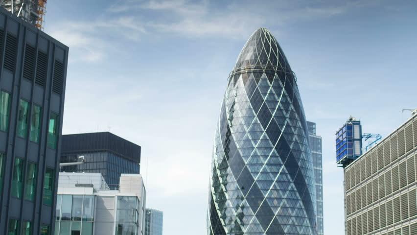 LONDON - JUNE 04: The famous Gherkin building in london's financial centre. 04 June 2013, England.