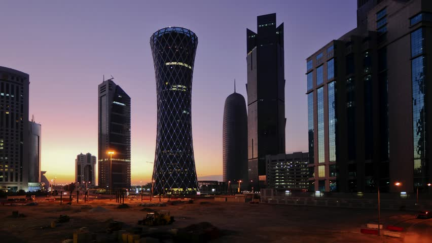 DOHA, QATAR - CIRCA 2011 - Newly built Skyline, right to left Palm Tower, Burj Qatar, Tornado Tower, TIME LAPSE (4k versions available. Search on Clip IDs 14267462 and 14267453)
