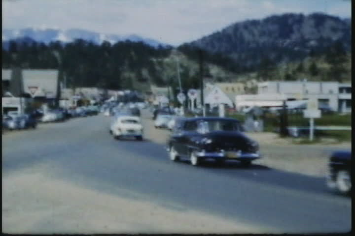 Driving in Estes Park, CO, circa 1940s, 8mm vintage film