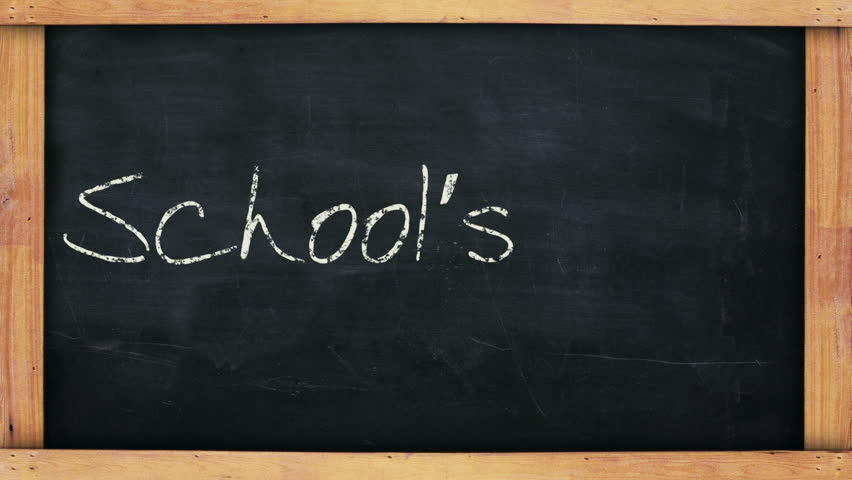 "Animated hand written message on a blackboard saying ""School's in!!!""."