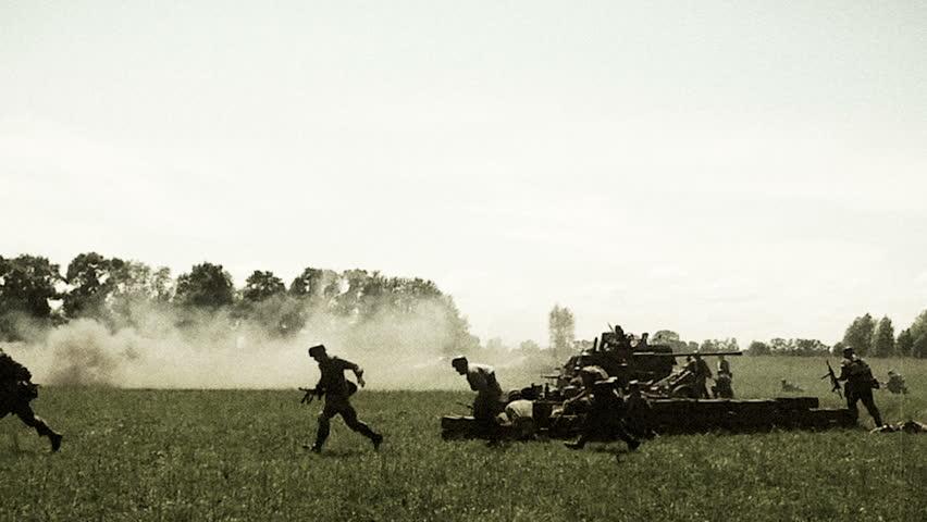 Soldiers attacking, explosion, smoke. World war 2 reconstruction. German, Soviet