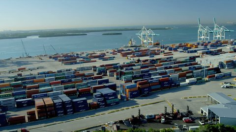 Aerial view PortMiami international shipping container port, Biscayne Bay, Miami, Florida, USA