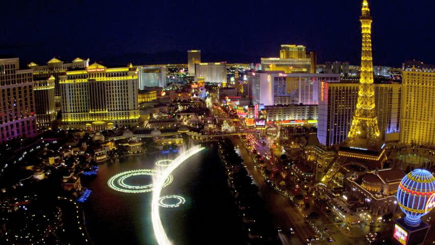 Illuminated view Bellagio fountains nr Caesars Palace, Las Vegas Strip, USA | Shutterstock HD Video #4206550