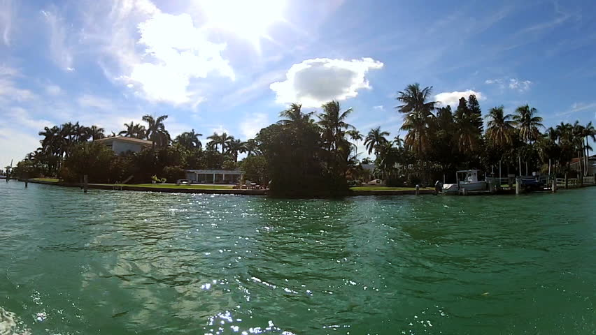 Private homes against turquoise sea and waterside landscape on secluded Islands nr Miami in Biscayne Bay, Florida, USA | Shutterstock HD Video #4233016
