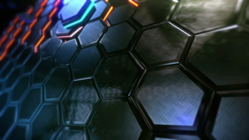 hexagonal technology background loop