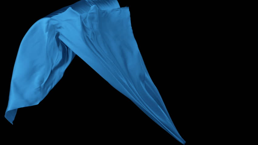 Blue fabric flowing in the air on black background shooting with high speed camera, phantom flex.