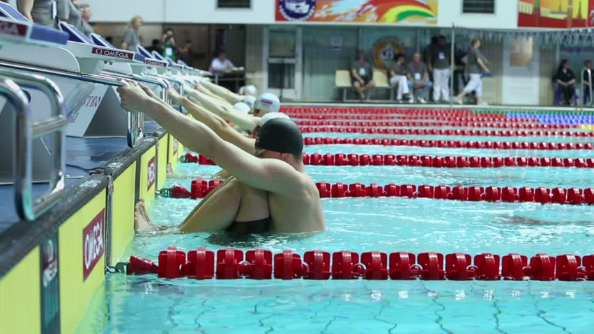Olympic Swimming Starting Blocks swimming pool and starting blocks, tilt shot stock footage video
