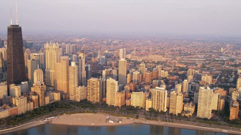 Aerial sunrise cityscape view Chicago skyline downtown Lake Shore Drive, John Hancock Building, Chicago, Illinois, USA, shot on RED EPIC
