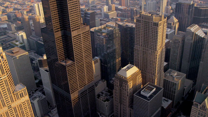 Chicago - August 18: Aerial view Willis Tower Chicago August 18, 2012, shot on RED EPIC | Shutterstock HD Video #4249556