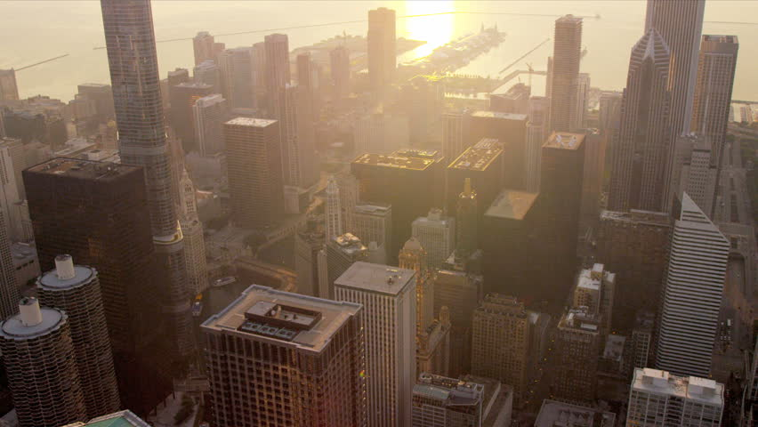 Aerial view city skyscrapers sunrise, Trump Tower and other popular buildings, Chicago, Illinois, USA, shot on RED EPIC
