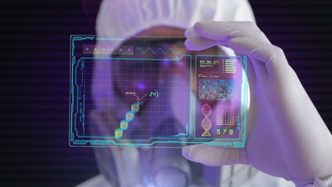 HD 1080 video of a male scientist analyzing structure of a DNA on a tablet in a modern laboratory environment