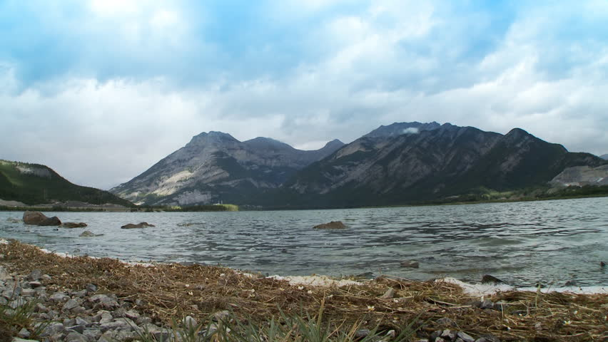 View across Lac des Arcs, Alberta, Canada. - HD stock video clip