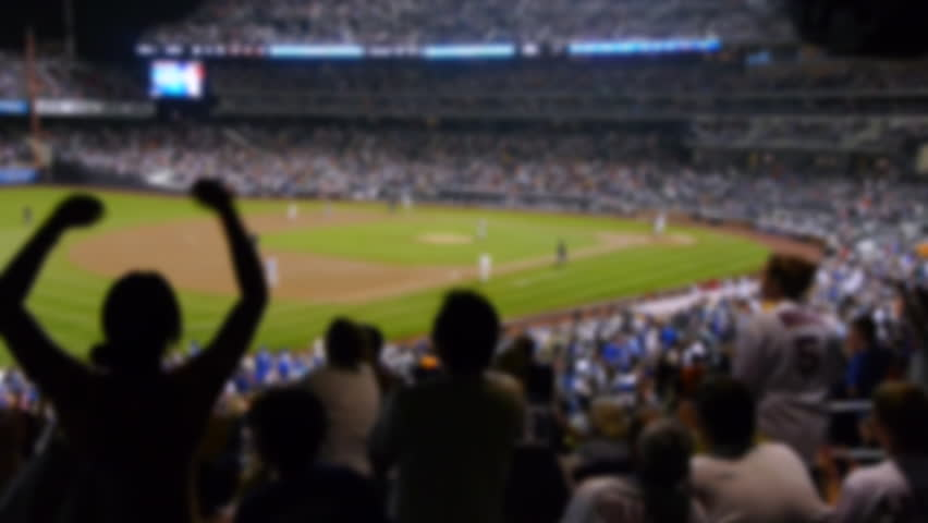 Baseball stadium fans cheering