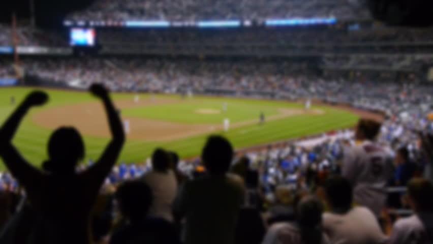 Baseball stadium fans cheering