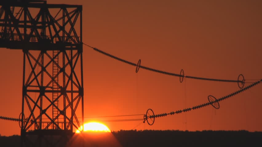 Power substation at timelapsed sunrise