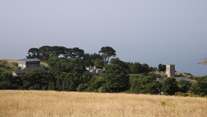 Talland Bay village PAN between Looe and Polperro Cornwall England UK on a beautiful summer day